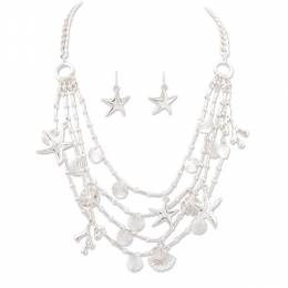 Periwinkle By Barlow Silver Coastal Charms Necklace and Earrings Set