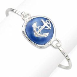 Periwinkle By Barlow Frosted Sea Glass Anchor Hook Bracelet