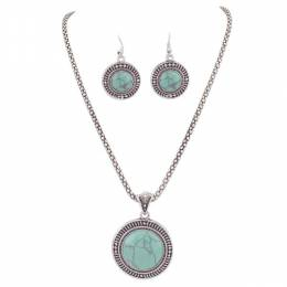 Periwinkle By Barlow Turquoise Stone Necklace and Earrings Set