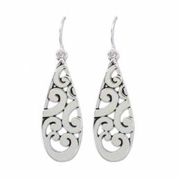 Periwinkle By Barlow Gleaming Silver Swirl Teardrop Earrings