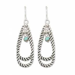 Periwinkle By Barlow Turquoise Drop Silver Rope Earrings