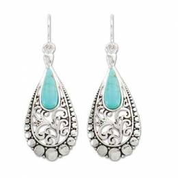 Periwinkle By Barlow Decorative Silver and Turquoise Earrings