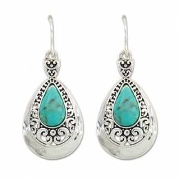Periwinkle By Barlow Turquoise and Bright Silver Swirls Earrings