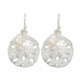 Periwinkle By Barlow Silver Sand Dollar and Pearl Earrings
