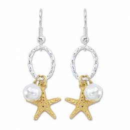 Periwinkle By Barlow Gold Starfish and Pearl Earrings