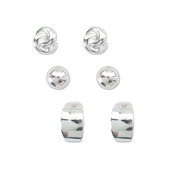 Periwinkle by Barlow Polished Silver Earrings Trio