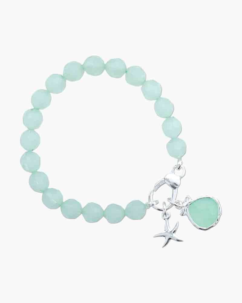 Periwinkle by Barlow Starfish and Crystal Drop Charm Bracelet