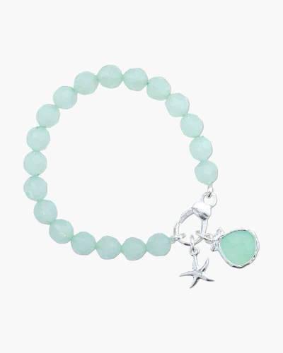 Starfish and Crystal Drop Charm Bracelet