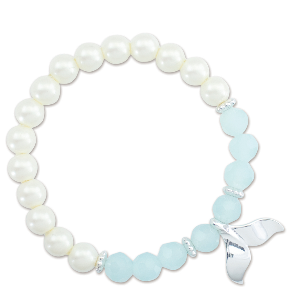 Periwinkle by Barlow Whale Tail Pearl Beaded Bracelet