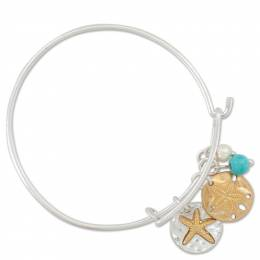 Periwinkle By Barlow Two-Tone Sand Dollar and Pearl Charms Bangle