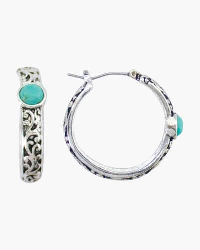 Turquoise and Silver Swirl Earrings