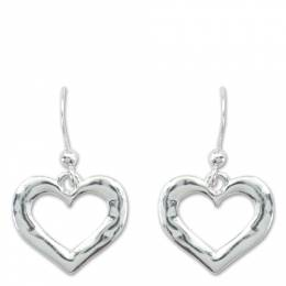 Periwinkle By Barlow Hammered Heart Frame Earrings