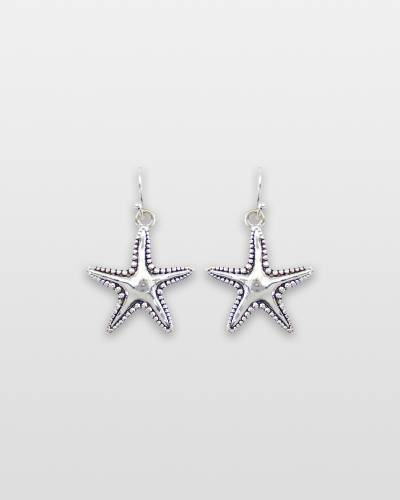 Hammered Silver Starfish Earrings