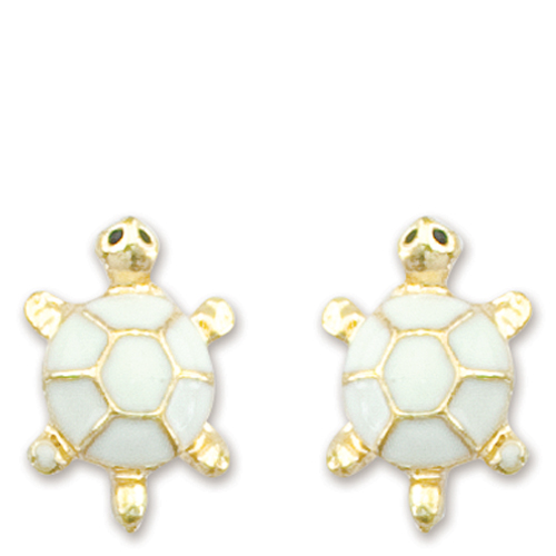 Periwinkle by Barlow Mini Enamel Turtle Earrings