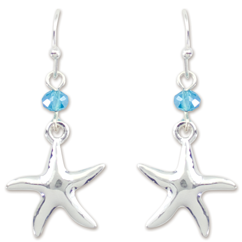 Periwinkle by Barlow Crystal and Silver Starfish Earrings