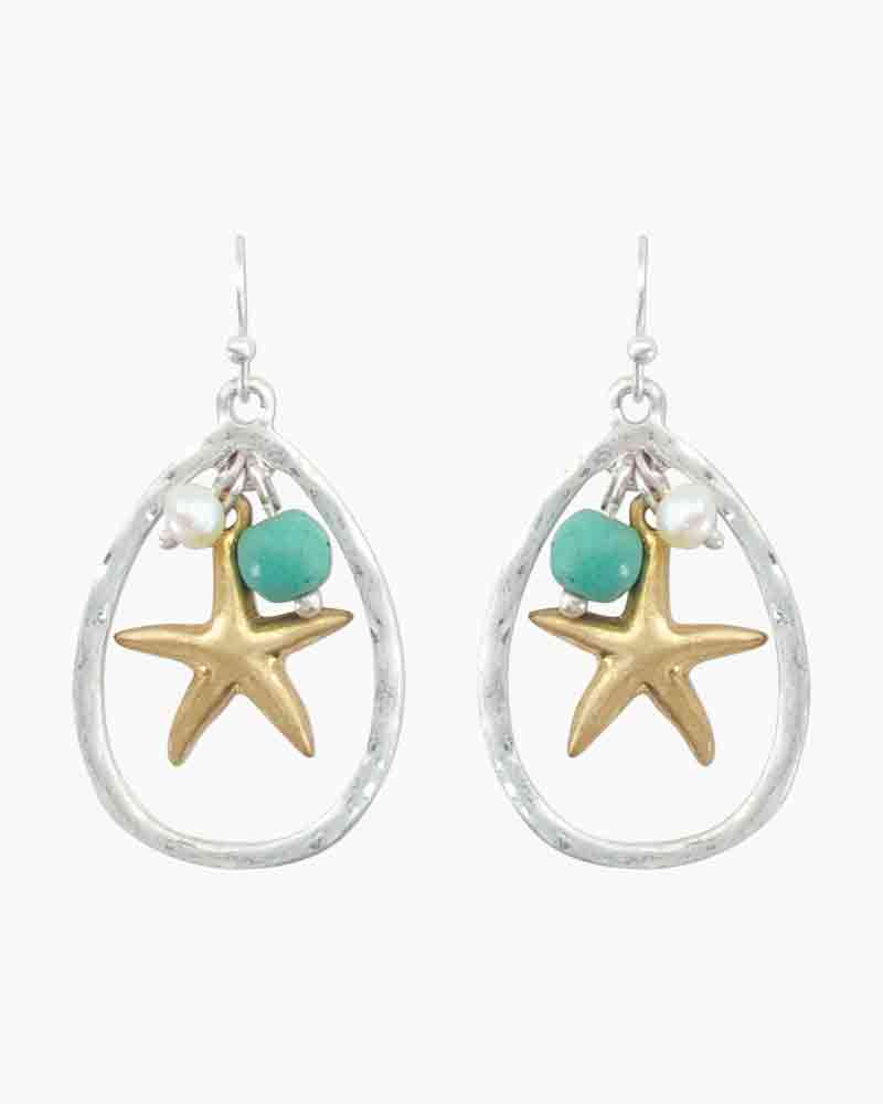 Periwinkle by Barlow Two-Tone Starfish Teardrop Earrings
