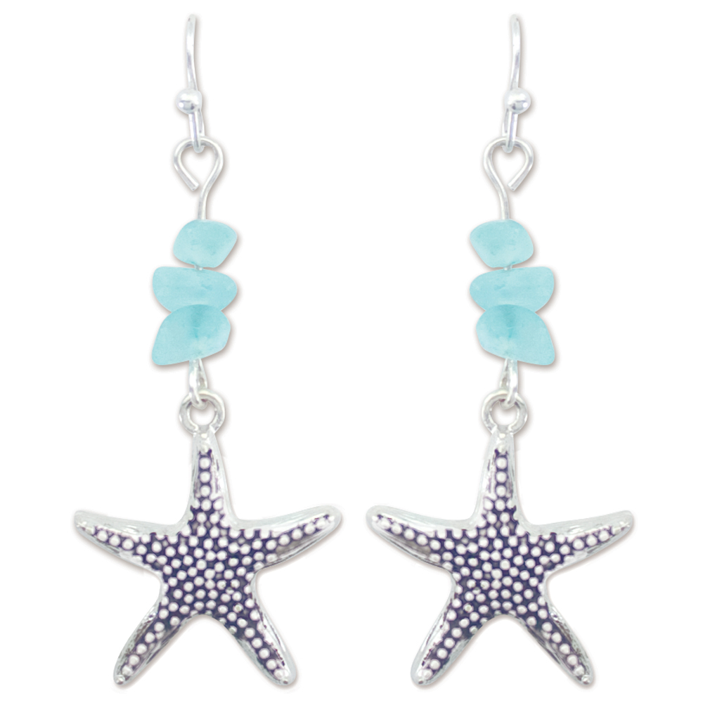Periwinkle by Barlow Textured Starfish and Crystal Bead Earrings