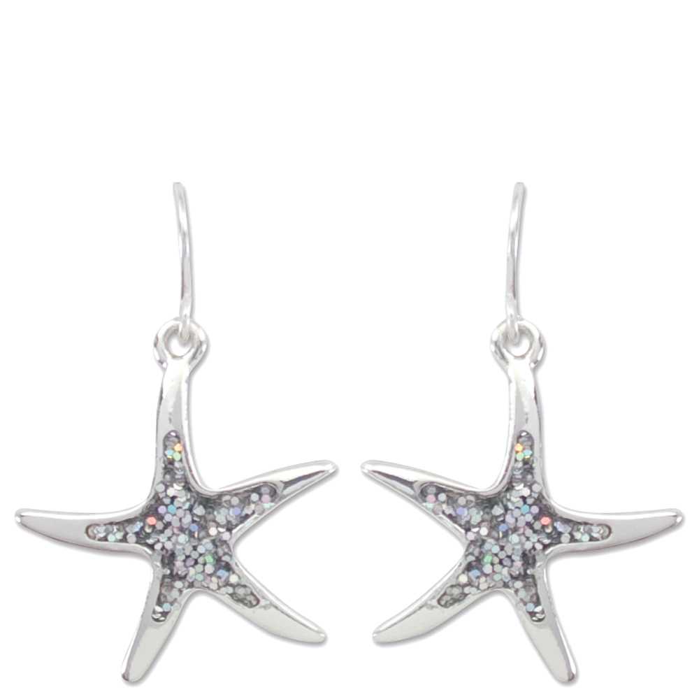 Periwinkle by Barlow Shimmering Silver Starfish Earrings