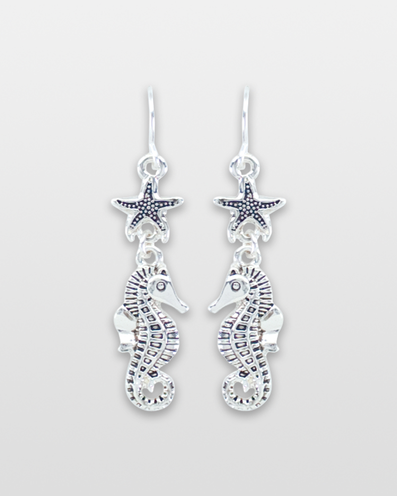 Periwinkle by Barlow Silver Seahorse with Starfish Earrings