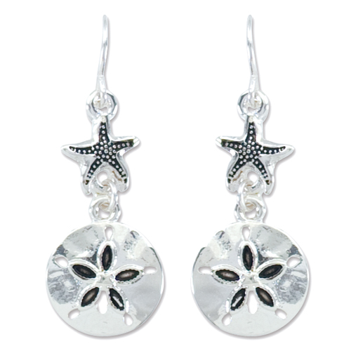Periwinkle by Barlow Silver Sand Dollar with Starfish Earrings