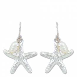Periwinkle By Barlow Silver Starfish and Pearl Earrings