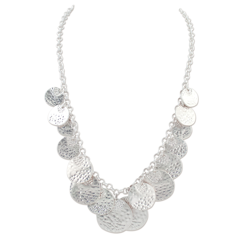 Periwinkle by Barlow Textured Graduated Discs Necklace