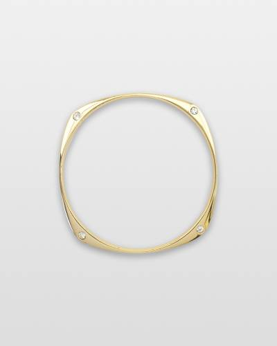 Modern Gold and Crystal Bangle