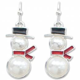 Periwinkle by Barlow Snow White Pearl Snowman Earrings