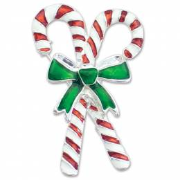 Periwinkle by Barlow Bow Tied Candy Canes Pin