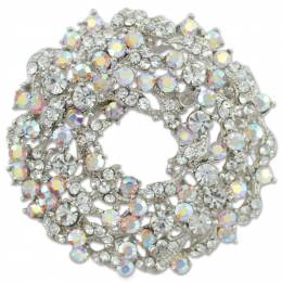Periwinkle by Barlow Crystal Wreath Pin
