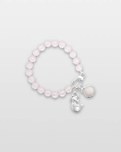 Frosty Pink Beaded Mermaid Charm Bracelet