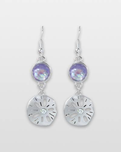 Sand Dollar and Crystal Earrings