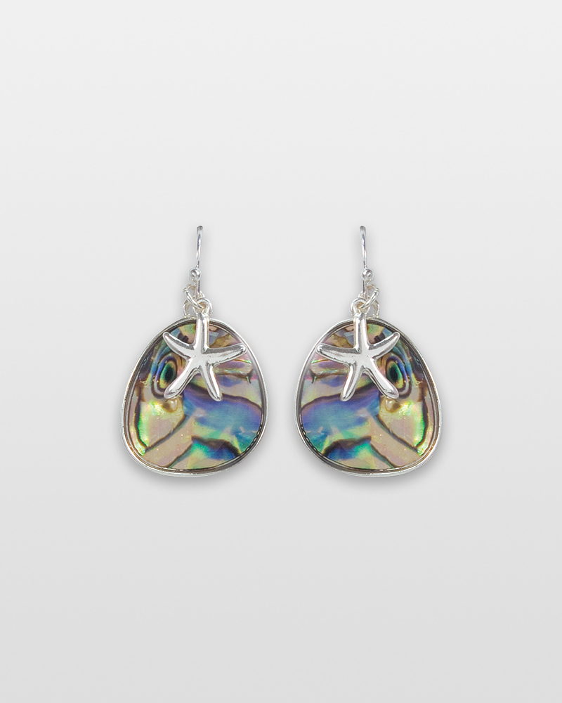 671b42b9e Periwinkle by Barlow Silver Starfish and Abalone Earrings