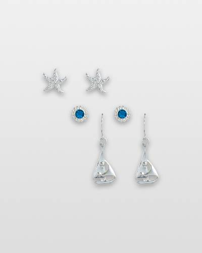 Crystal Sailing Earrings Trio (Set of 3)