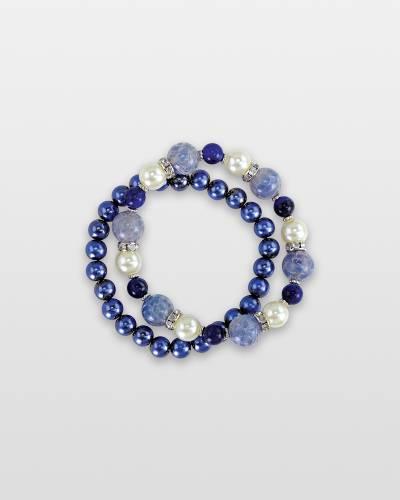Blue Beaded Pearl Bracelets (Set of 2)