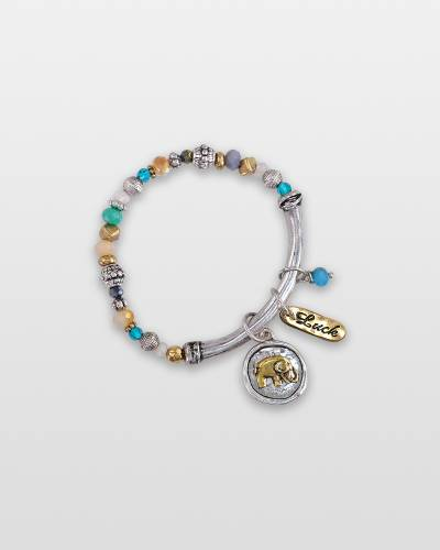 Two-Tone Elephant Charm Bracelet