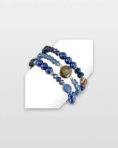 Blue Semi-Precious Beaded Bracelet