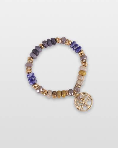 Stone Beaded Tree of Life Charm Bracelet