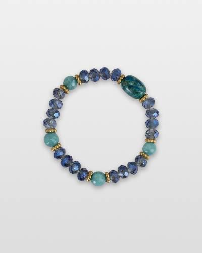 Semi-Precious Stone and Crystal Bead Bracelet