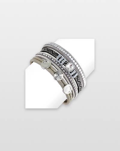 Crystal Slider Leather Bracelet