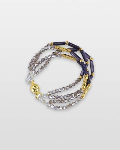 Indigo Tube Bead Magnetic Bracelet
