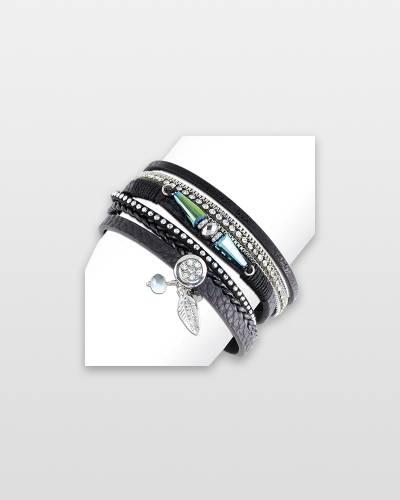 Layered Leather Charm Bracelet