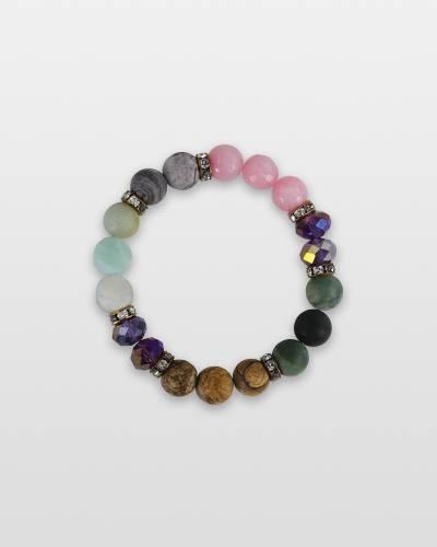 Semi-Precious Stone and Crystal Beaded Bracelet