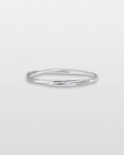 Gleaming Silver Twist Bangle