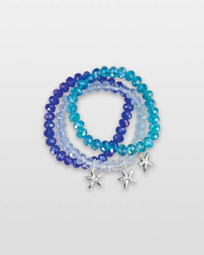 Crystal Beaded Starfish Charm Bracelet (Assorted)