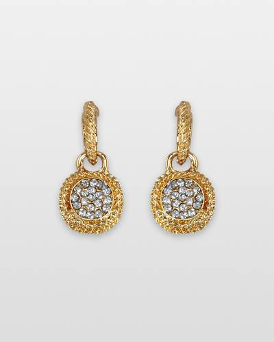 Textured Gold and Crystal Earrings