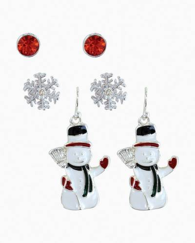 Waving Snowman Earrings Trio