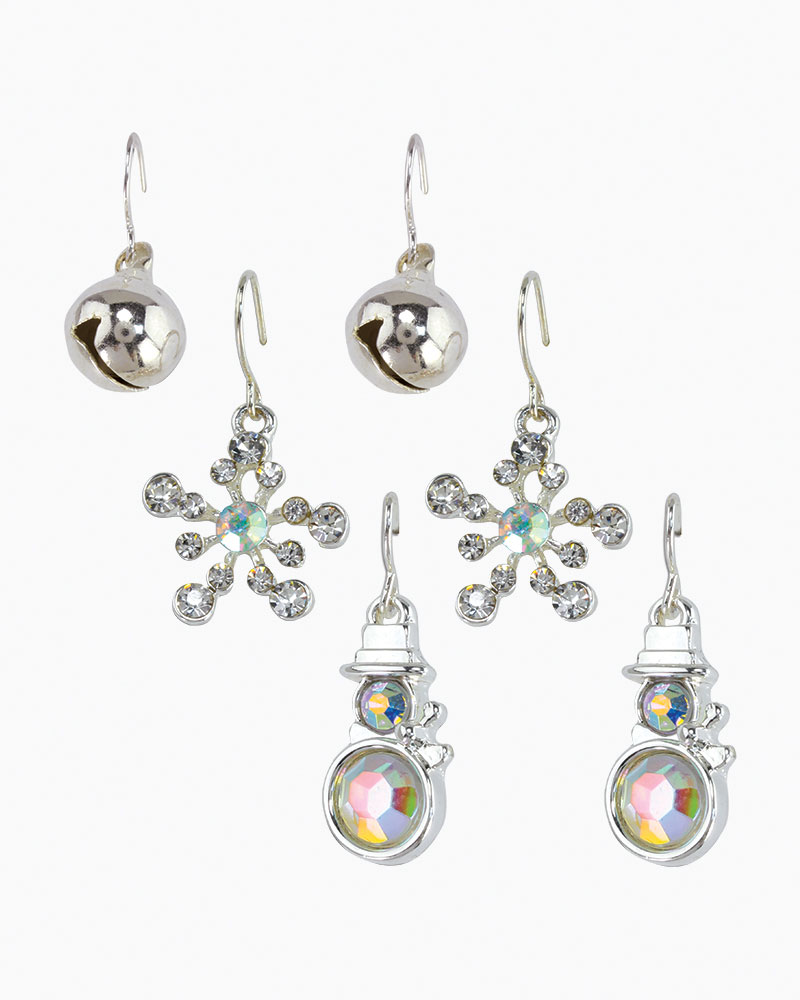 Periwinkle By Barlow Crystal Snowman Earrings Trio