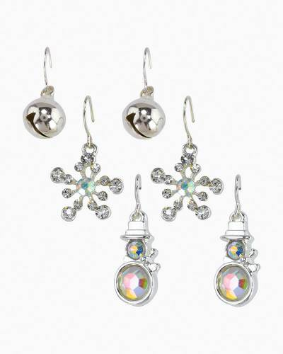 Crystal Snowman Earrings Trio