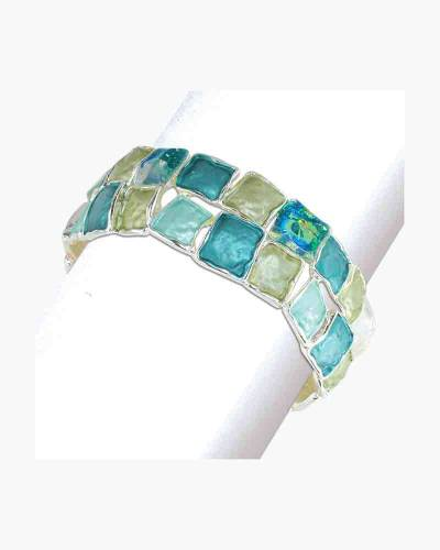 Turquoise Squares and Crystals Bracelet